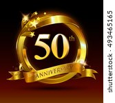 50th golden anniversary logo ... | Shutterstock .eps vector #493465165