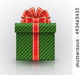 green gift box with a big red... | Shutterstock .eps vector #493465435