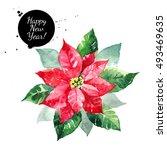 poinsettia flower. christmas... | Shutterstock . vector #493469635