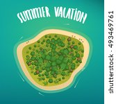 Beautiful lonely tropical island with dense vegetation and the beach, on the high seas. Aerial view. Lettering summer vacation. Vector illustration
