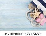 beach accessories. bag  towel...   Shutterstock . vector #493472089