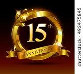 15th golden anniversary logo ... | Shutterstock .eps vector #493475845