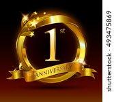 1st golden anniversary logo  1... | Shutterstock .eps vector #493475869