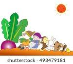 the harvest of red turnips. | Shutterstock .eps vector #493479181
