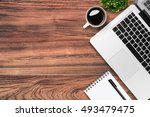 wood desk table with laptop ...   Shutterstock . vector #493479475