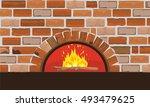 firewood oven on brick wall.... | Shutterstock .eps vector #493479625