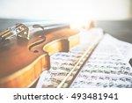 Closeup Of Retro Violin  Bow...