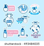set of labels for natural dairy ...   Shutterstock .eps vector #493484035