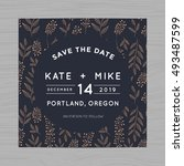 save the date wedding... | Shutterstock .eps vector #493487599