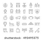 set vector line icons in flat... | Shutterstock .eps vector #493495375