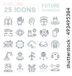 set vector line icons in flat... | Shutterstock .eps vector #493495384