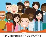 people group taking selfie... | Shutterstock .eps vector #493497445