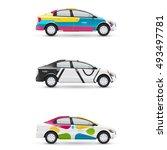 mockup of white passenger car.... | Shutterstock .eps vector #493497781