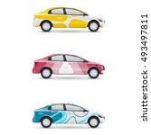 mockup of white passenger car.... | Shutterstock .eps vector #493497811