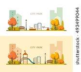 public park in the city. autumn.... | Shutterstock .eps vector #493499044