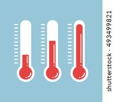 red thermometers with different ... | Shutterstock .eps vector #493499821