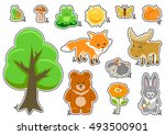 woodland animals and cute... | Shutterstock .eps vector #493500901