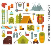 winter hiking  camping objects... | Shutterstock .eps vector #493502479