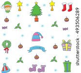 doodle of element christmas set ... | Shutterstock .eps vector #493506289