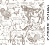 seamless pattern with livestock ... | Shutterstock .eps vector #493513021