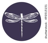 Stock vector beautiful icon dragonfly vector illustration 493515151