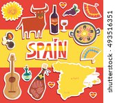 set of more than 12 spanish... | Shutterstock .eps vector #493516351