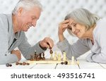 happy senior couple playing... | Shutterstock . vector #493516741