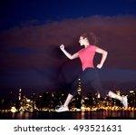 running rooftop jumping high...   Shutterstock . vector #493521631