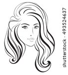 beauty vector face girl portrait | Shutterstock .eps vector #493524637