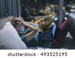 young exhausted depressed... | Shutterstock . vector #493525195