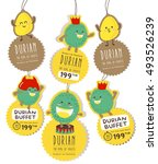 cute durian hanging tag vector  ...   Shutterstock .eps vector #493526239