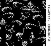 halloween animals   white... | Shutterstock .eps vector #493529461