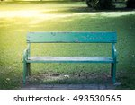 Bench Green Iron Long Old...