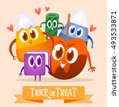 set cartoon candy for halloween.... | Shutterstock .eps vector #493533871