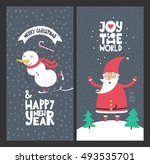 holiday cards   merry christmas ... | Shutterstock .eps vector #493535701