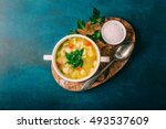 chicken soup with noodles and... | Shutterstock . vector #493537609