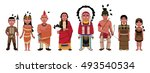 native american indians family... | Shutterstock .eps vector #493540534