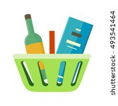 shopping basket with goods... | Shutterstock .eps vector #493541464