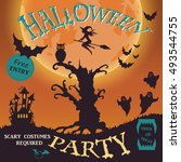 halloween party invitation.... | Shutterstock .eps vector #493544755