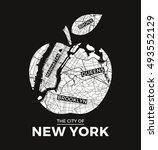 new york big apple t shirt... | Shutterstock .eps vector #493552129