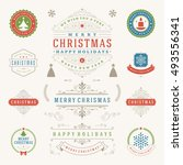 christmas labels and badges... | Shutterstock .eps vector #493556341