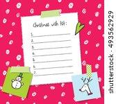 christmas wish list template.... | Shutterstock .eps vector #493562929