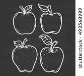 black and white apple set using ...   Shutterstock .eps vector #493568989