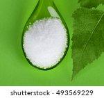 xylitol birch sugar on plastic... | Shutterstock . vector #493569229