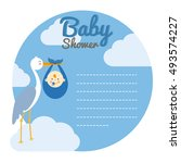 baby shower card. stork with... | Shutterstock .eps vector #493574227