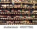 blurred image of wine shelves... | Shutterstock . vector #493577581