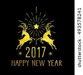 merry christmas gold glittering ... | Shutterstock .eps vector #493578241