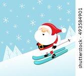 skiing santa | Shutterstock .eps vector #493584901