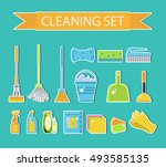set of icons for cleaning tools.... | Shutterstock .eps vector #493585135