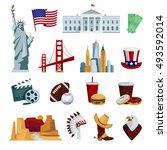 Usa Flat Icons Set With...